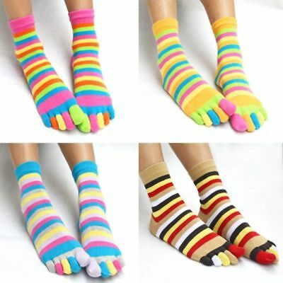 Sports Casual Womens Cotton Colorful Striped Soft Warm Five Finger Toe Socks UK