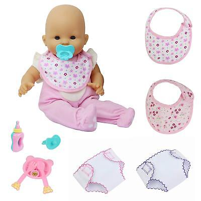 9x Baby Doll Clothes Underwear Bibs Feeding Bottle Spoon For 16-18inch Girl Doll