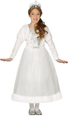 Girls White Winter Princess Christmas Xmas Festive Fancy Dress Costume Outfit