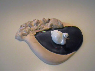 Vintage Hagen Renaker Miniature Swimming Mama Swan And Pond