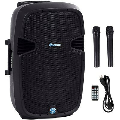 "Portable 15"" 1000W Rechargable Battery Powered Speaker w/ Wireless Microphones"