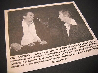 JOHNNY CASH and GEORGE JONES laughing backstage 1983 music biz promo pic/text