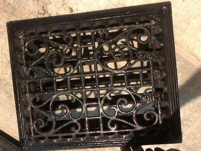 Vintage Cast Metal Iron Art Deco Heat Grate 2 Piece Wall Register