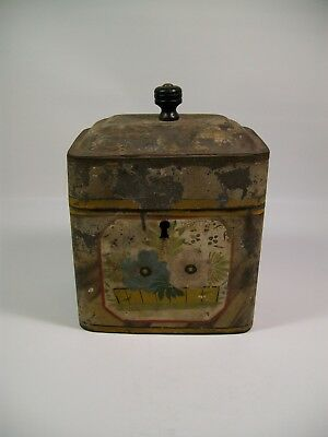 Antique Hand Painted Tole Tea Caddy 19th Century [8077]