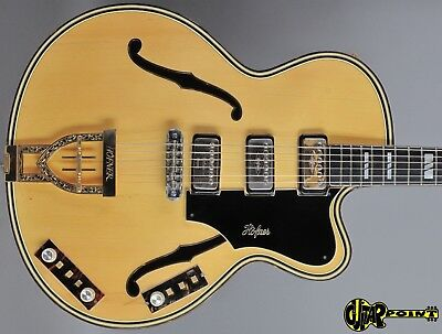 """1971 Höfner Model 470/SE 3  - Natural  Maple - 17"""" Archtop w/ Cutaway Stereo EXC"""
