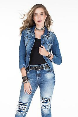 CIPO BAXX Giubbino jeans donna cort Slim borchie decorative Colore Blu