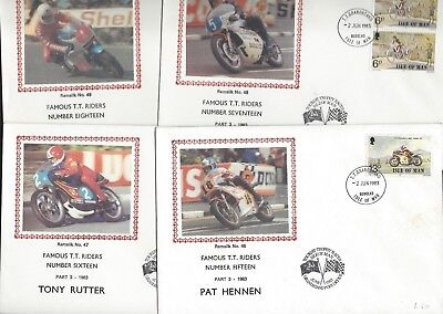 Isle of Man Famous TT Races Motorcycle Riders eight silk covers