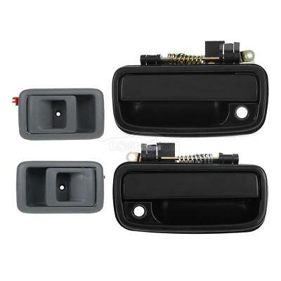 Set 4 Black Front Outer LH + RH Gray Inner Door Handle for 2001-04 Toyota Tacoma