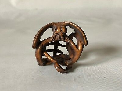 "Vintage Hand Carved Wood Japanese Detailed Dragonfly Netsuke 1.5"" Signed"