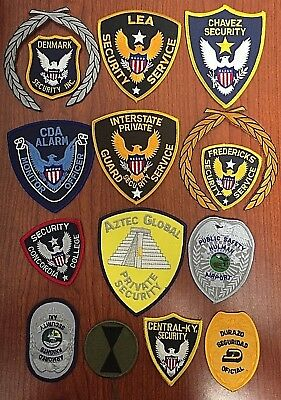 Lot of 12 Vintage Security Officers Patches