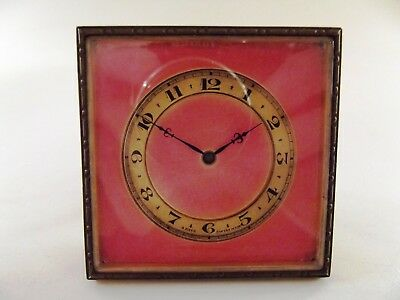 Antique Swiss Travel Clock With Pink Enamel Face Ref 49/1