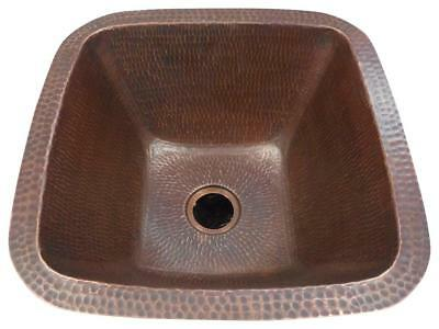"15"" Square Rustic Copper Bar Kitchen Sink Brushed Sedona Finish"