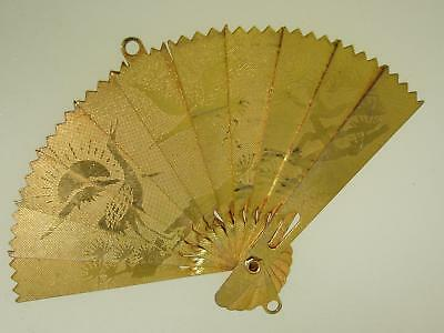 Lovely Vintage Chinese Gold Plated Articulated Fan With Ornate Designs Pendant!