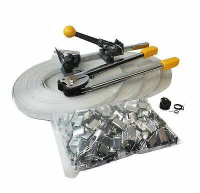Packaging STRAPPING TOOL KIT Crimper Strap  400 Seals & 4 Banding Rolls 690 ft