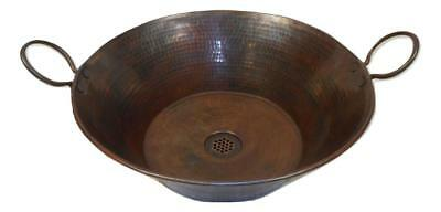 "Large 16"" Vintage Round Copper Cazo Bathroom Vessel Sink with 19-Hole Grid Drain"