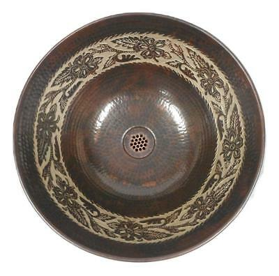 """14"""" Round Copper Vessel Bath Sink with Silver Floral Overlay and Grid Drain"""