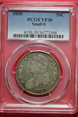 1830 VF30 Small 0 Capped Bust Half Dollar PCGS Graded Certified Genuine OCE106