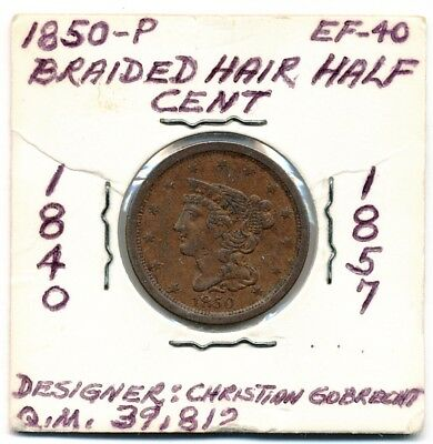 1850-P Braided Hair Half Cent Opens @ .99C - Free Shipping