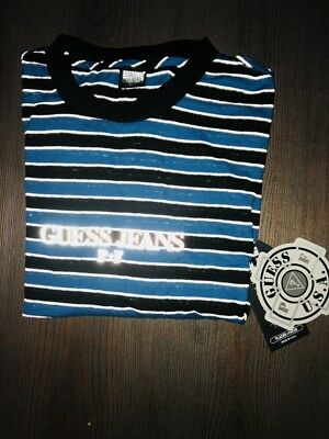 1665743f83dae Exclusive ComplexCon Guess X Places + Faces Size Large Blue Striped L S  Shirt 3M