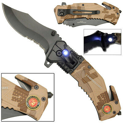 US Marines Spring Assist LED Tactical Emergency Rescue Serrated Pocket Knife