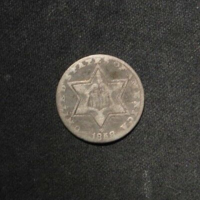 1858 Three Cent 3¢ Silver- VG