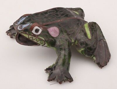 Vintage Chinese Old Cloisonne Enamel Hand-Carved Frog Animal Statue Collection