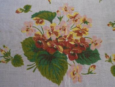 """Large Vintage Printed Linen & Cotton Tablecloth Pink & Yellow Floral 83"""""""