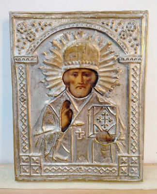 c1900 ANTIQUE RUSSIAN ORTHODOX RELIGIOUS ICON ST NICHOLAS OF MYRA IN BRASS OKLAD