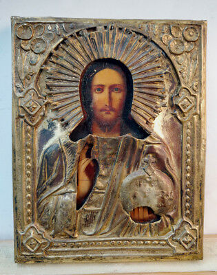 c.1900 ANTIQUE RUSSIAN ORTHODOX RELIGIOUS ICON CHRIST PANTOCRATOR IN BRASS OKLAD