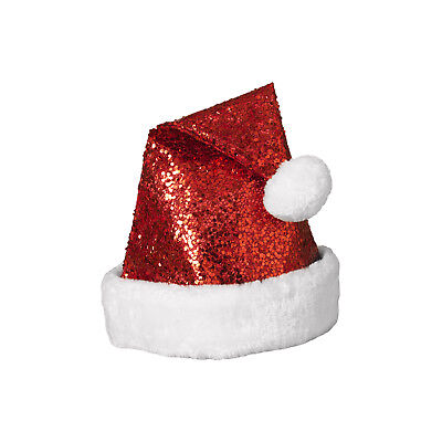 3b4c9e22a687f Adult Size Sequin Santa Hat With Faux Fur Border Puffy Ball Christmas  Accessory