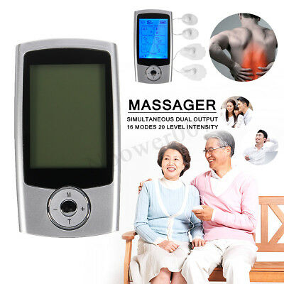 TENS EMS Portable Electric Pulse Massager Therapy Machine Dual Output 16