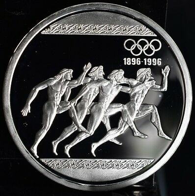 1996 Greece 1000 Drachmes Ancient Runner Olympic Proof Silver Coin KM #165
