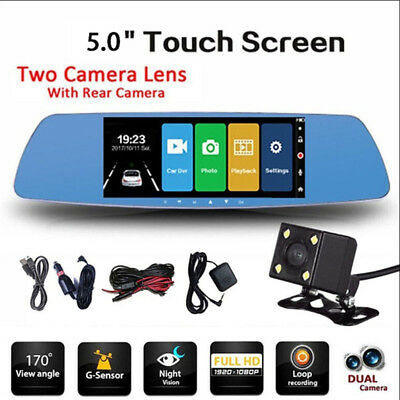 5'' 1080P Dual Lens Auto'Car DVR Mirror Dash Cam Recorder Rear View Camera 170°