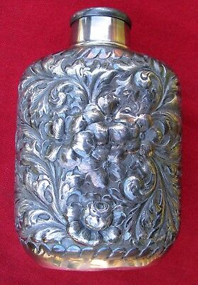Fine Unusual 3-D American Quadruple Silver Plated Flask~Built In Cup~1866 - 1898
