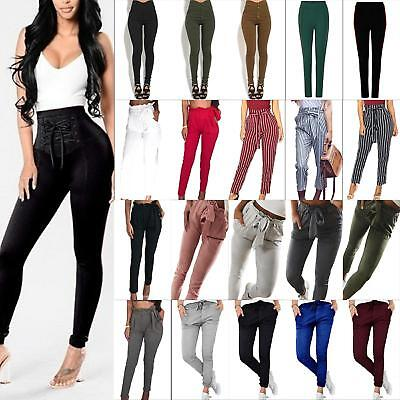 Women's Pencil Trousers Skinny Stretch High Waist Leggings Pants Casual Jeggings