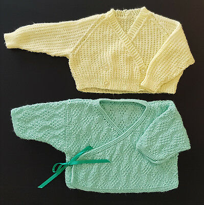 TWO x VINTAGE KNITTED 'HUG ME TIGHT' JACKETS, PERFECT FOR BABY / REBORN DOLL