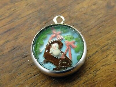 Vintage silver ROCK A BYE BABY IN TREE TOP REVERSE INTAGLIO GLASS CRYSTAL charm