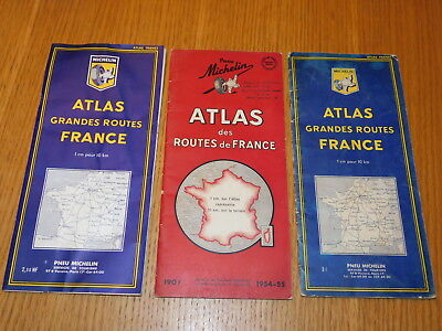 vintage LOT 3 carte ancien PNEU MICHELIN atlas ROUTES de FRANCE 1954-1961-1963