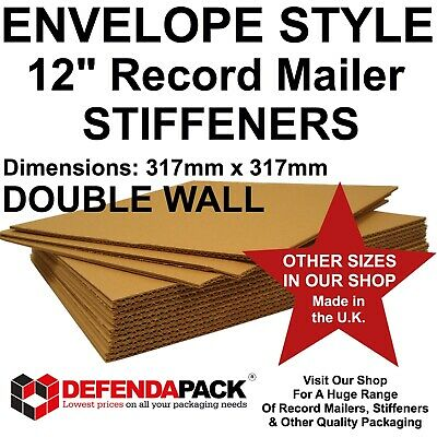 """ENVELOPE STYLE 12"""" Vinyl Record Mailer STRONGEST STIFFENERS STRENGTHENERS PADS"""
