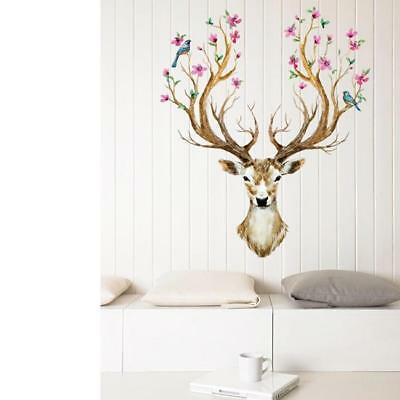 DEER Antlers Bloom Tree Bird Home Stag Wall Stickers Mural Decal Home LC