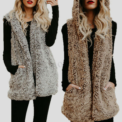 Womens Winter Warm Hooded Hoodies Sleeveless Vest Coat Jacket Outwear Waistcoat