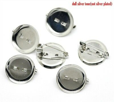 100x Brooch Vintage Blank Round Pad Silver Tone Cabochon Mounting 20mm Fit 18mm