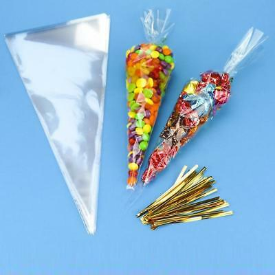 100Pcs Transparent Triangle Candy Food Bags For Wedding Birthday Party Gift New