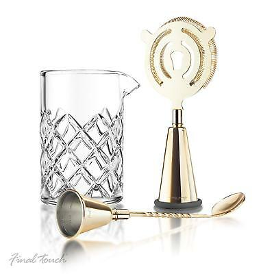 Brass Cocktail Mixing 3pc Set Vintage Bar Tools Accessories Drinks Making Kit UK