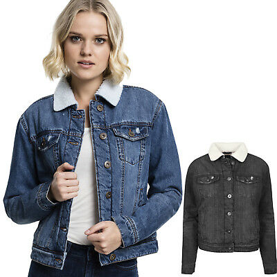 Kurze Urban Classics Damen Jeansjacke Ladies Short Denim Jacket