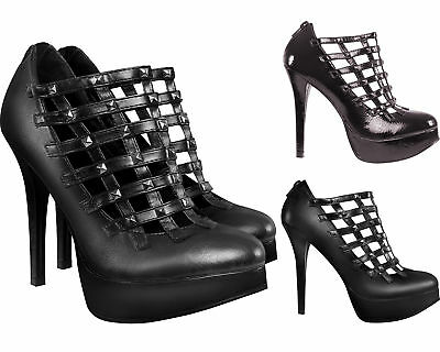 Womens Faux Leather Studded Caged High Heels Ladies Zip Back Stiletto Heel Shoes