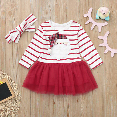 Infant Baby Girls Santa Christmas Striped Tutu Tulle Dress+Headband Outfits KL