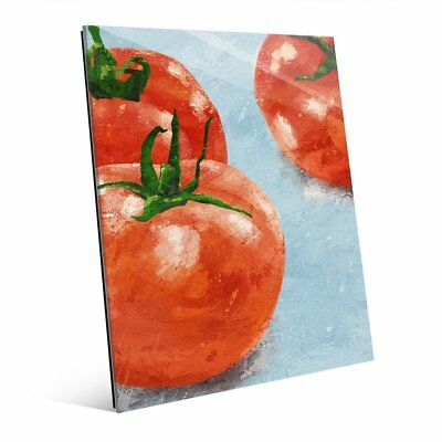 'Painted Tomatoes on Blue' Acrylic Wall Art Print