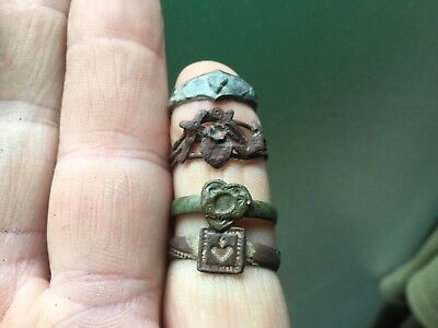 Four Old Rings With Heart Motif