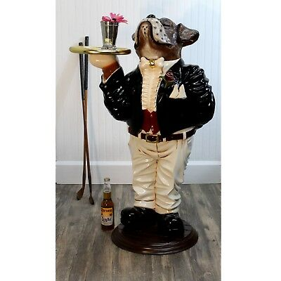 "Boxer Dog Butler Statue With Serving Tray Bone Bow Tie in Tuxedo Waiter 39"" Tall"